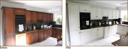 Before & After image of a Kitchen before kitchen doors are resprayed